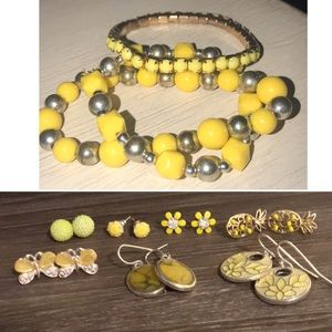 LOT OF FUN YELLOW EARRINGS /and bracelets